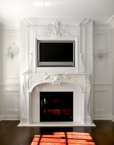 Limestone Fireplace Mantel With Tv On Top