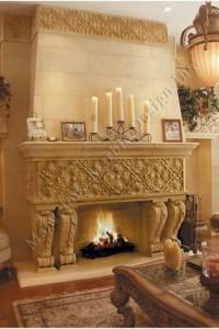 italian limestone fireplace mantel